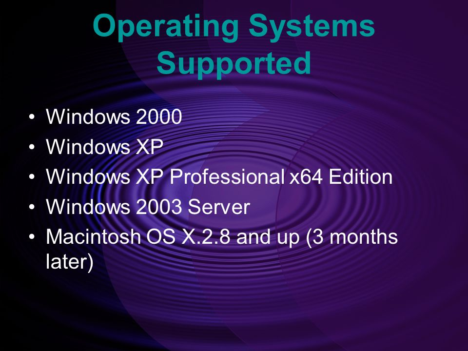 Operating Systems Supported
