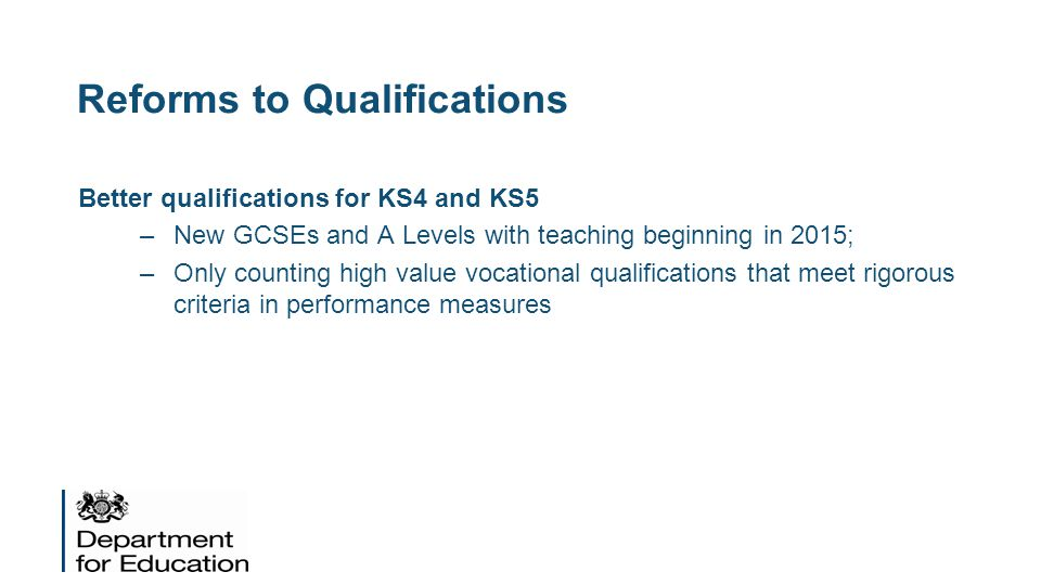 Reforms to Qualifications