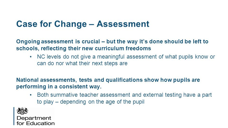 Case for Change – Assessment
