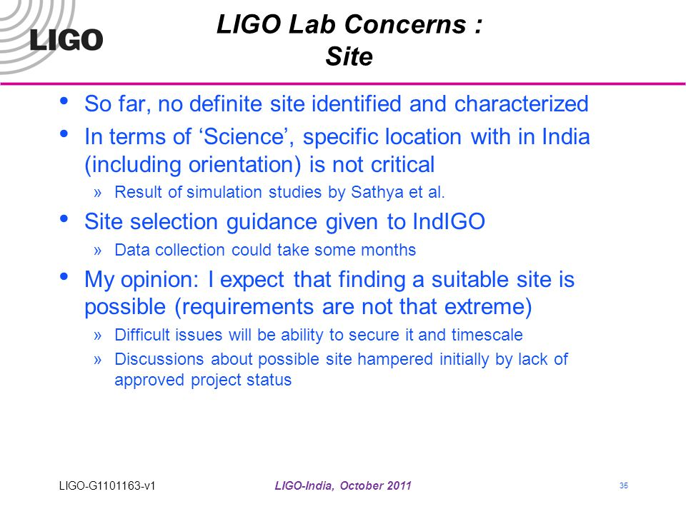 LIGO Lab Concerns : Site
