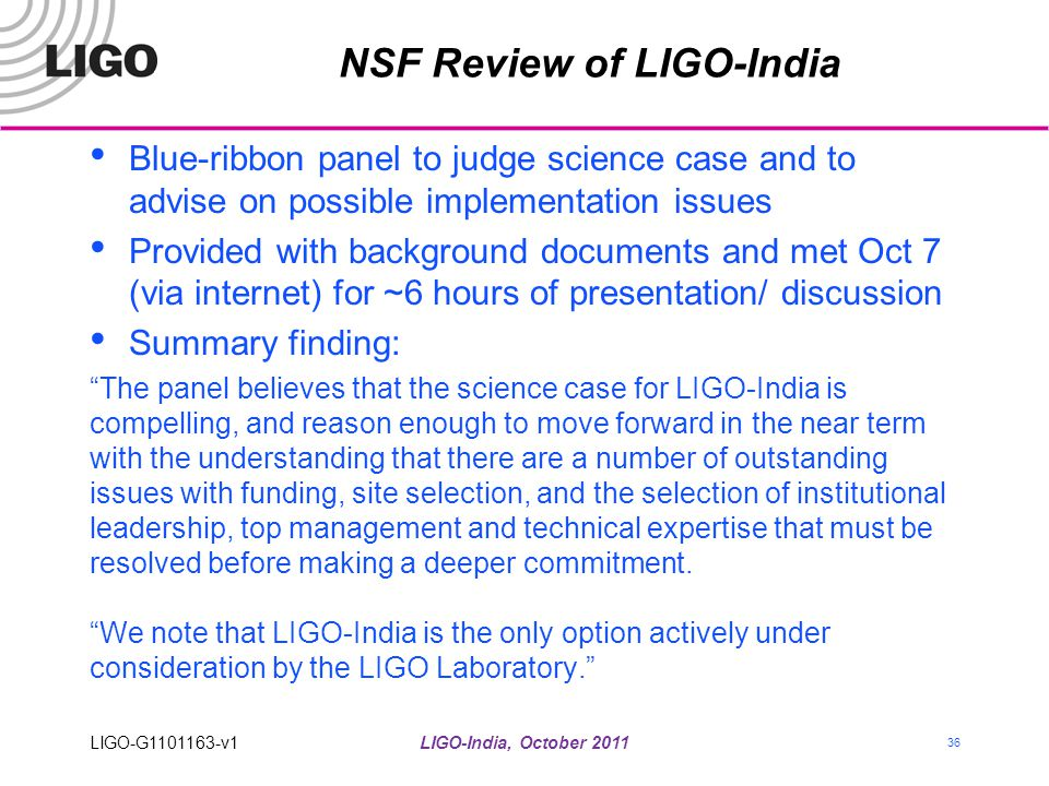 NSF Review of LIGO-India