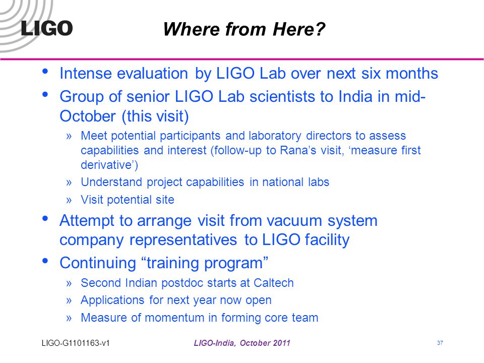 Where from Here Intense evaluation by LIGO Lab over next six months