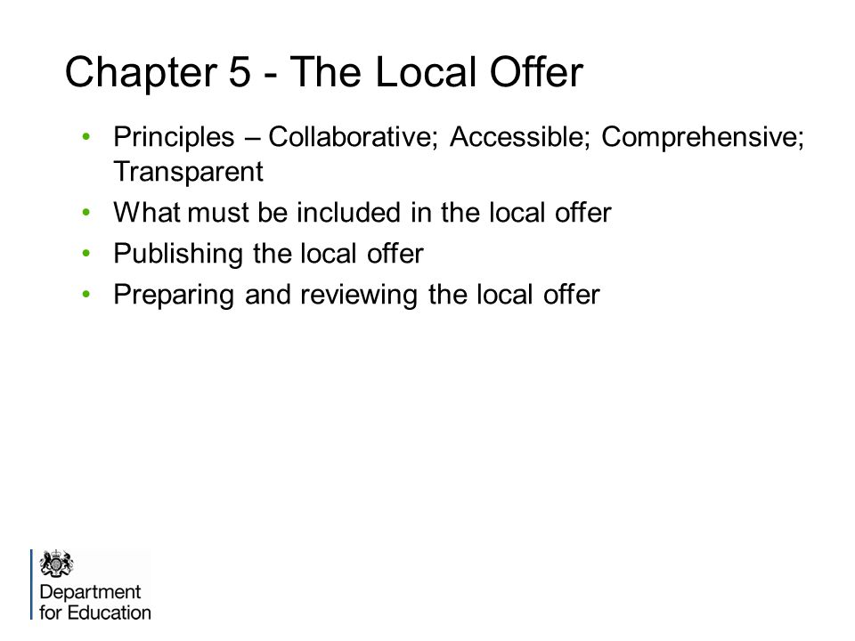 Chapter 5 - The Local Offer