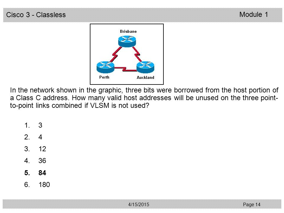 In the network shown in the graphic, three bits were borrowed from the host portion of a Class C address. How many valid host addresses will be unused on the three point-to-point links combined if VLSM is not used