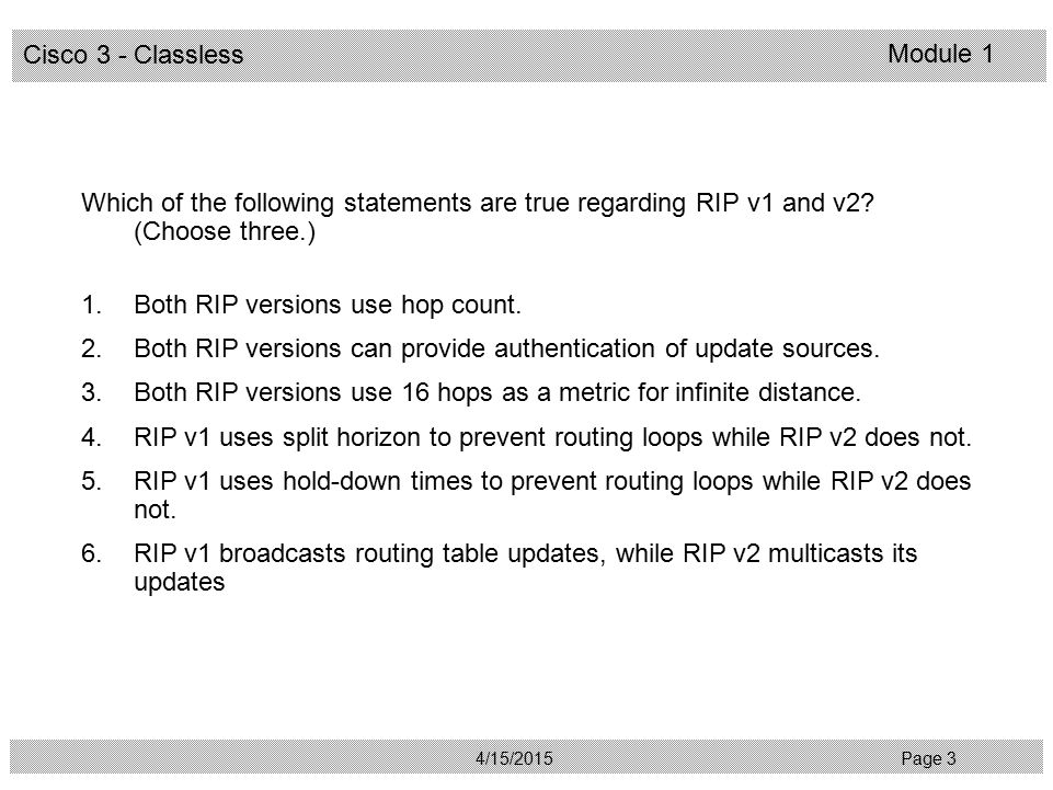 Which of the following statements are true regarding RIP v1 and v2