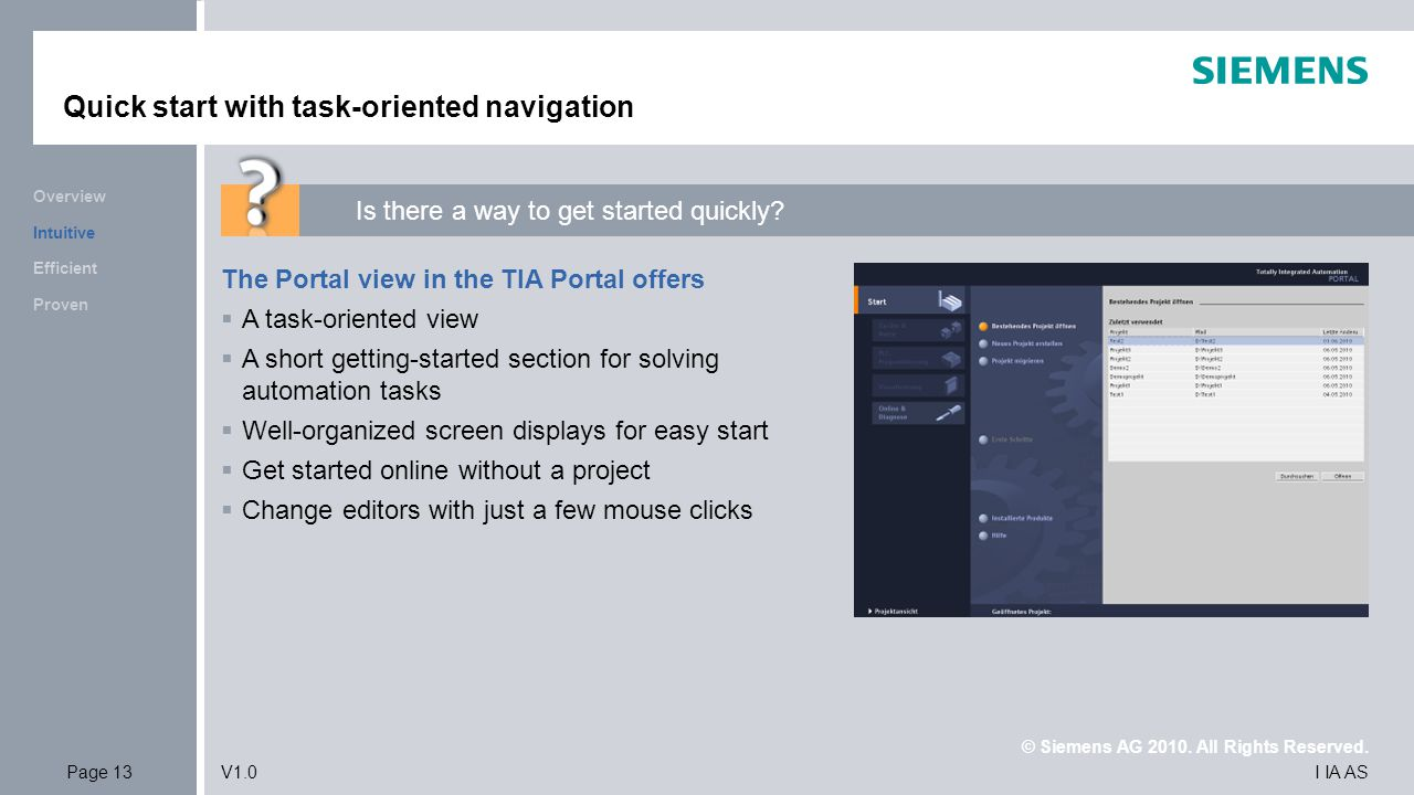 Quick start with task-oriented navigation