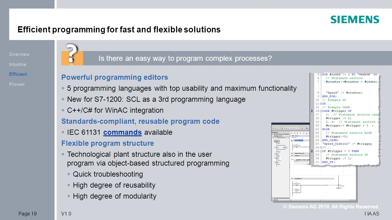 Efficient programming for fast and flexible solutions