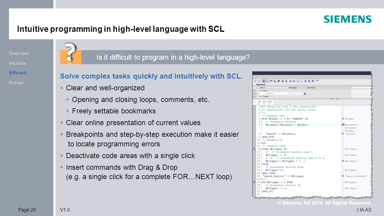 Intuitive programming in high-level language with SCL