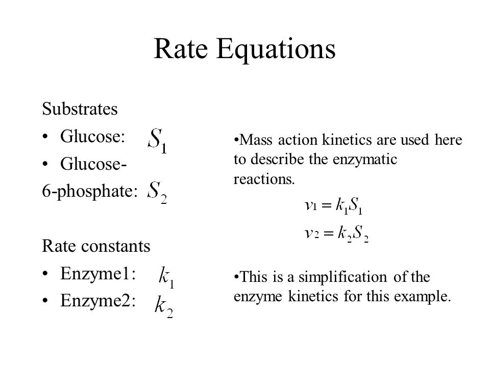 Rate Equations Substrates Glucose: Glucose- 6-phosphate: