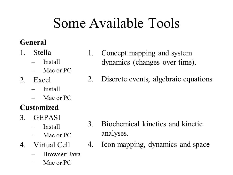 Some Available Tools General Stella