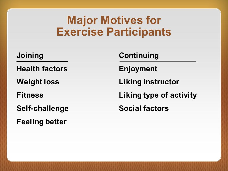 Major Motives for Exercise Participants
