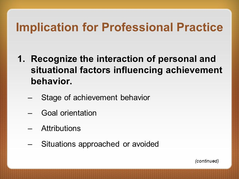 Implication for Professional Practice