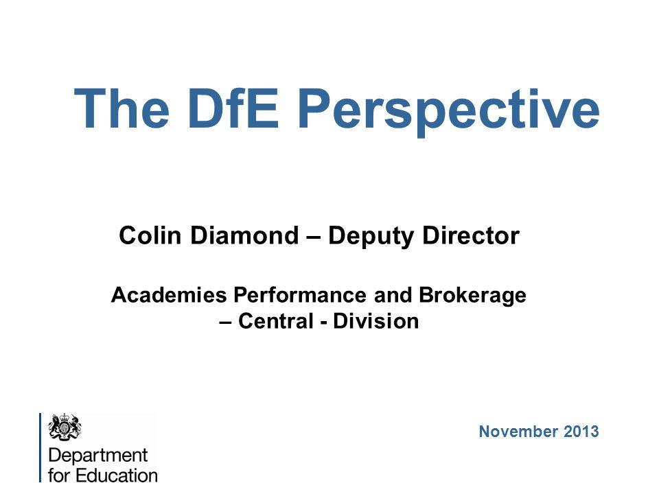 The DfE Perspective Colin Diamond – Deputy Director