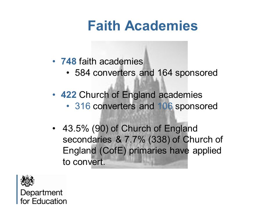 Faith Academies 748 faith academies 584 converters and 164 sponsored