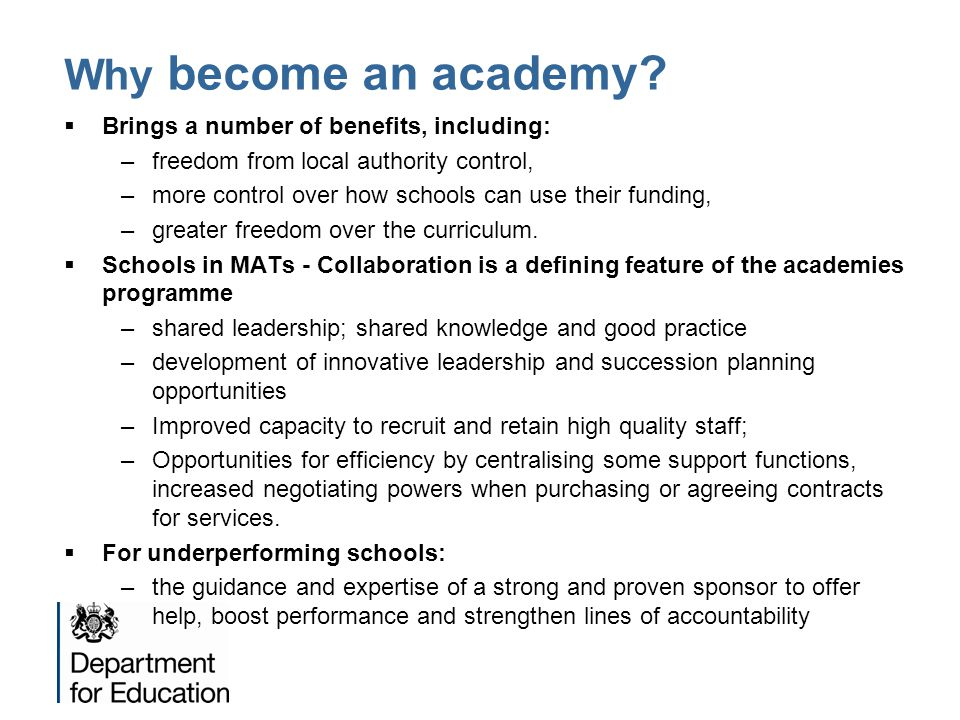 Why become an academy Brings a number of benefits, including: