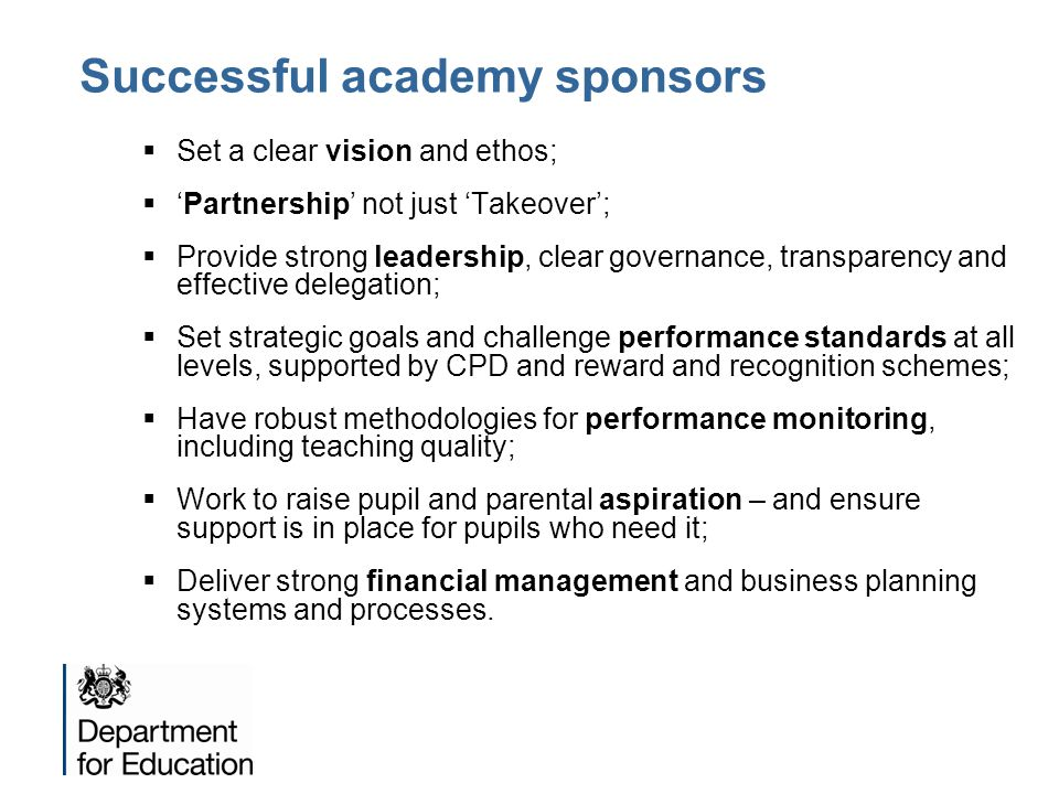 Successful academy sponsors