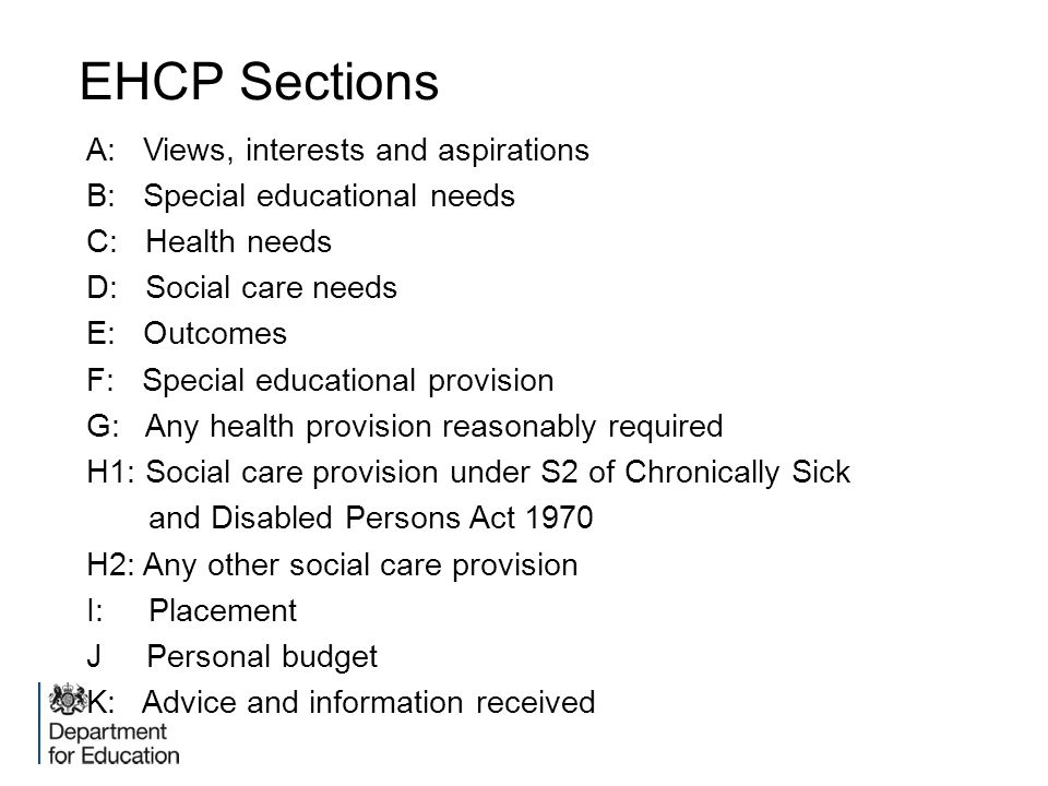 EHCP Sections A: Views, interests and aspirations
