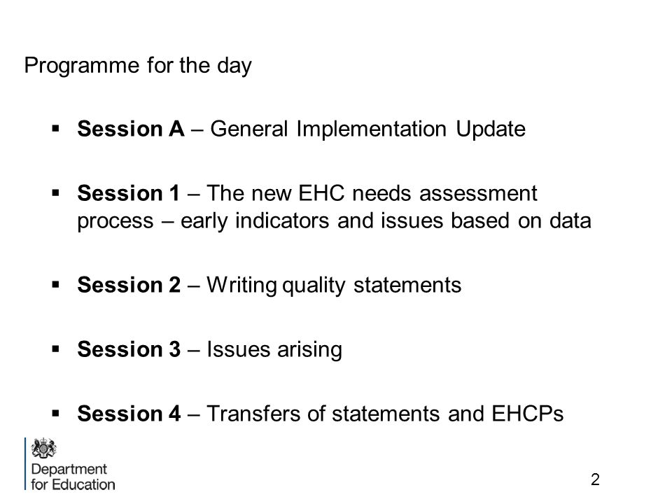 Programme for the day Session A – General Implementation Update.