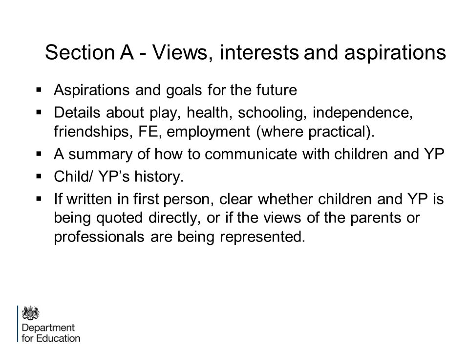 Section A - Views, interests and aspirations