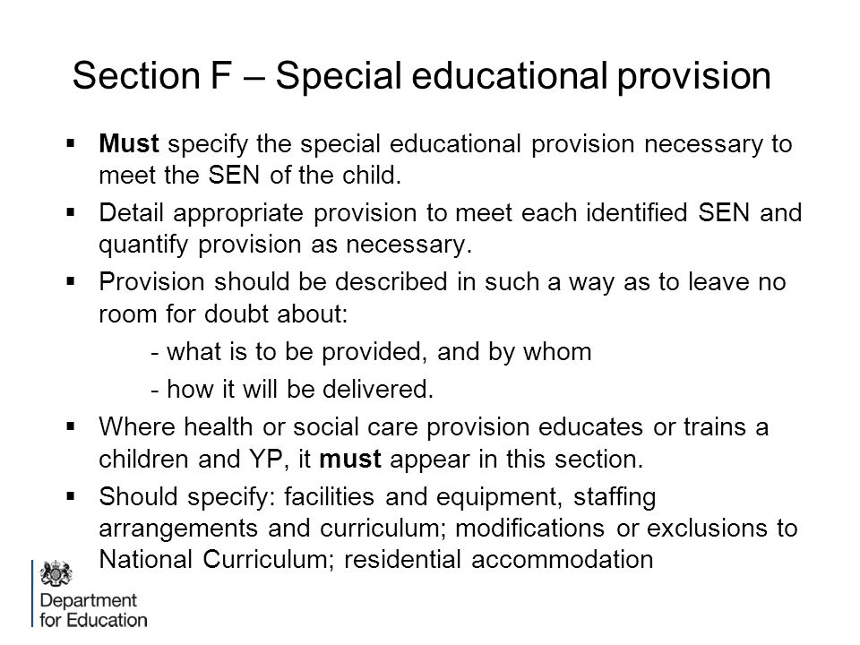 Section F – Special educational provision