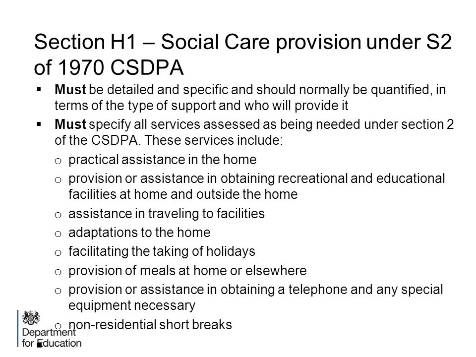 Section H1 – Social Care provision under S2 of 1970 CSDPA