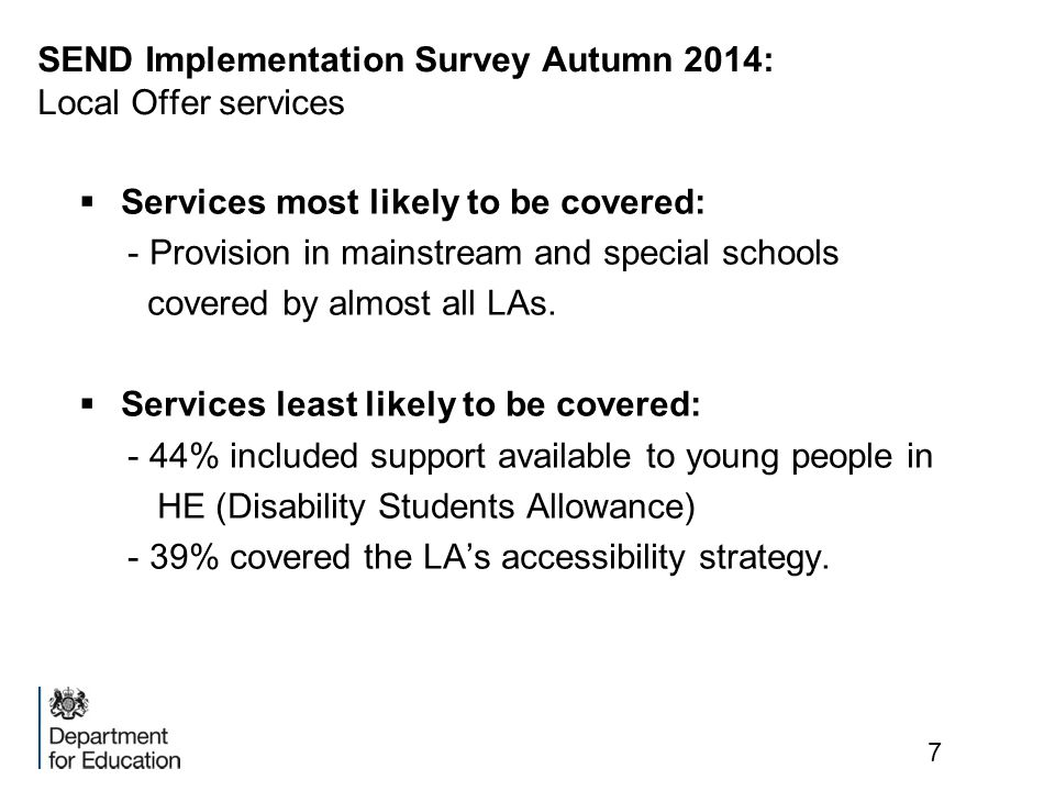 SEND Implementation Survey Autumn 2014: Local Offer services