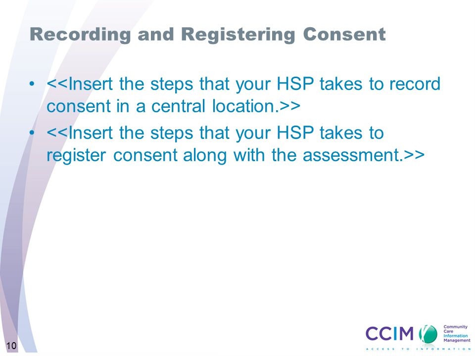 Recording and Registering Consent