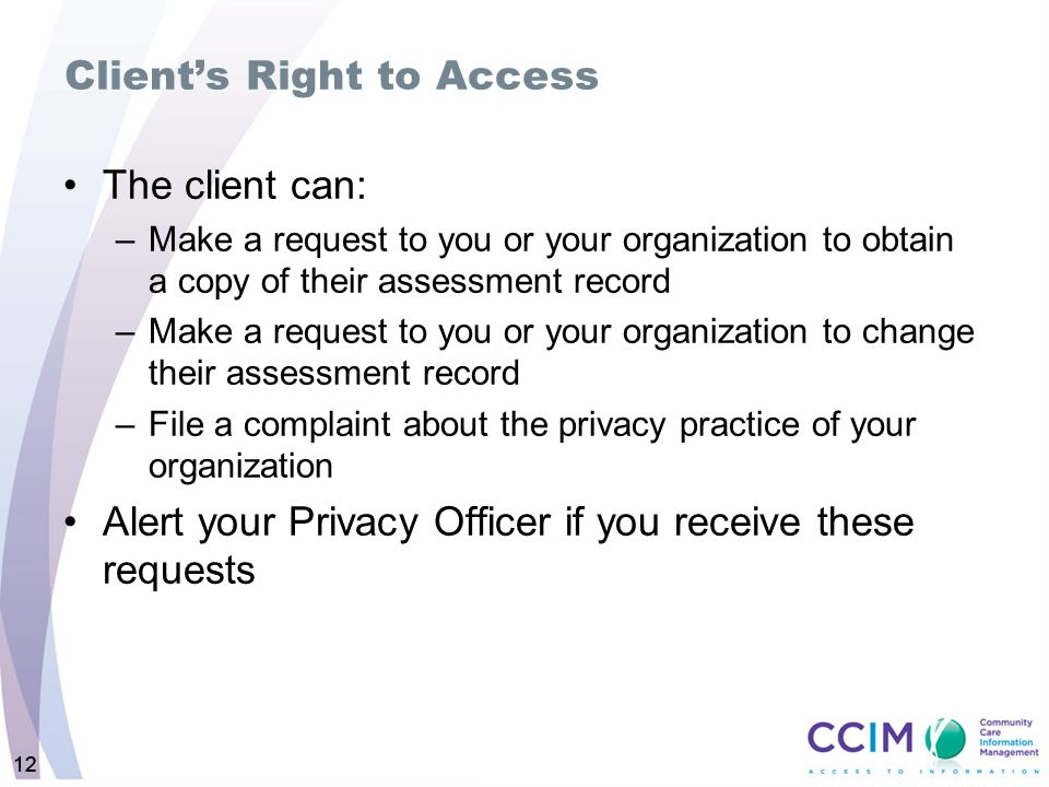 Client's Right to Access