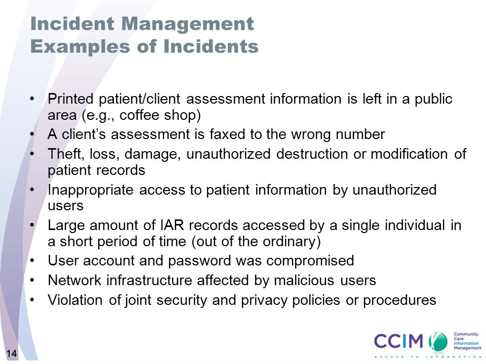 Incident Management Examples of Incidents