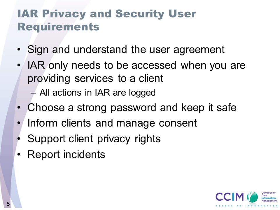 IAR Privacy and Security User Requirements