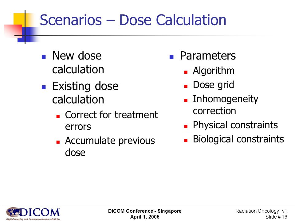Scenarios – Dose Calculation