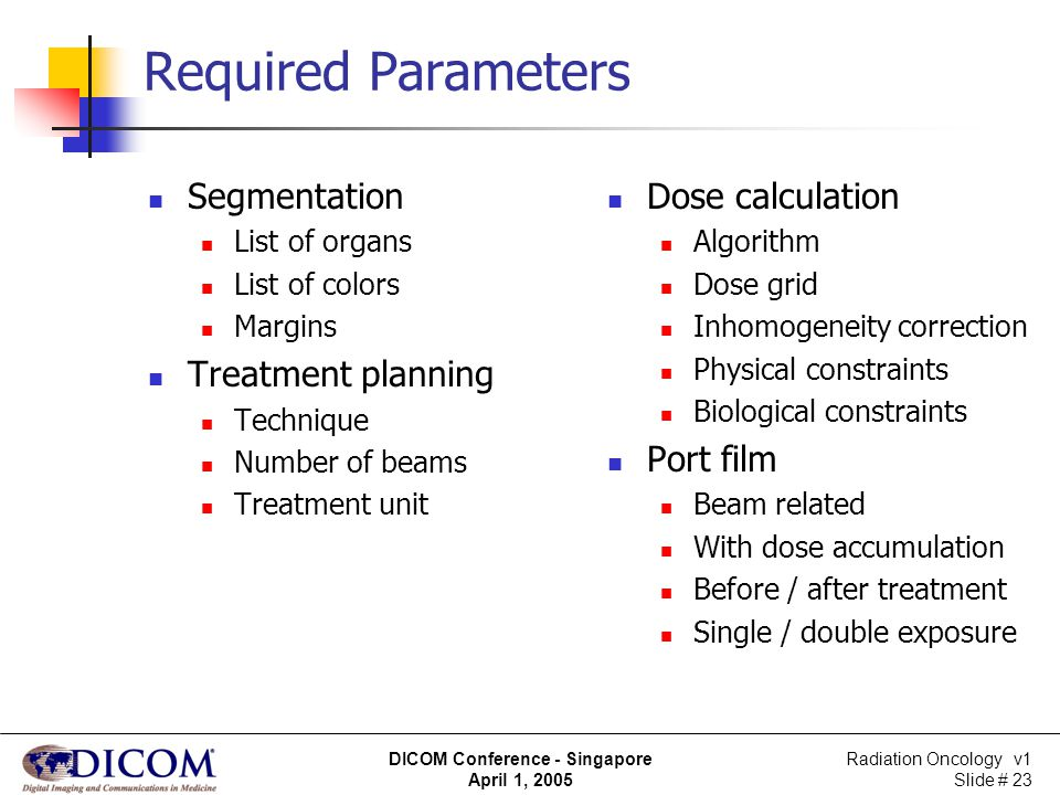 Required Parameters Segmentation Treatment planning Dose calculation