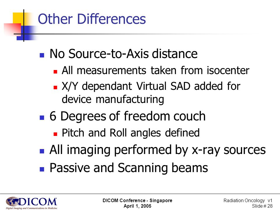 Other Differences No Source-to-Axis distance