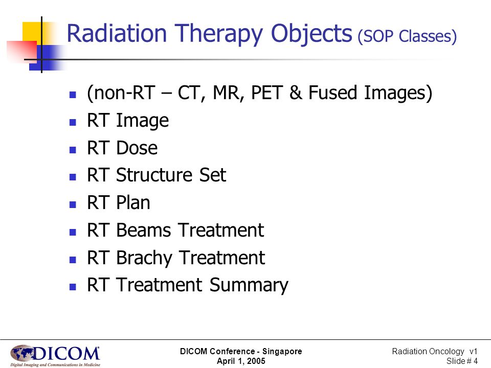 Radiation Therapy Objects (SOP Classes)