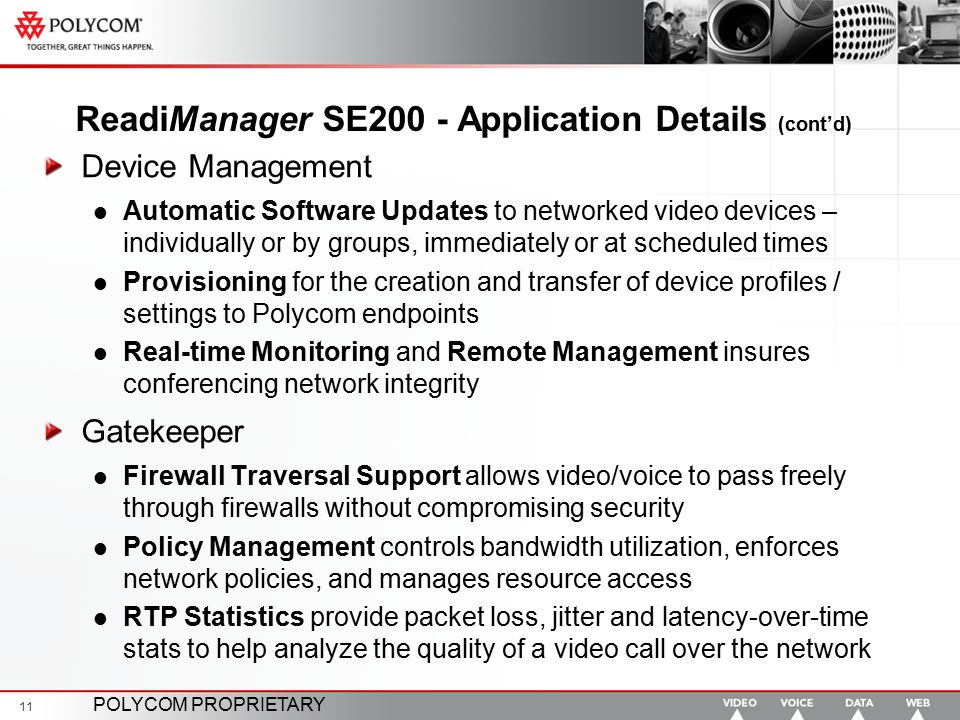 ReadiManager SE200 - Application Details (cont'd)