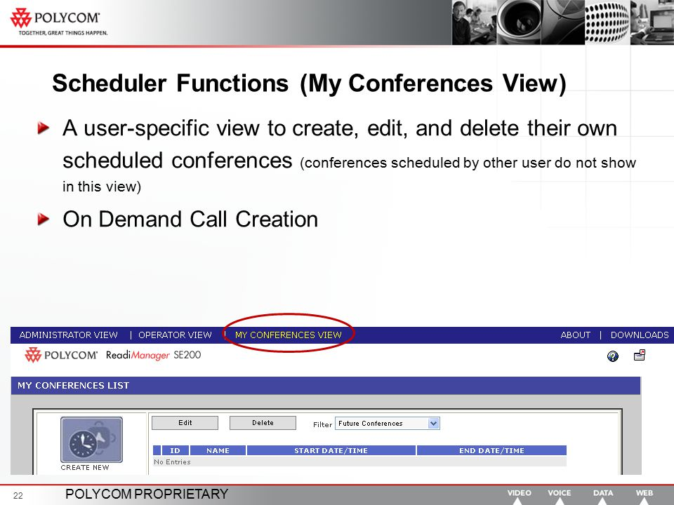 Scheduler Functions (My Conferences View)
