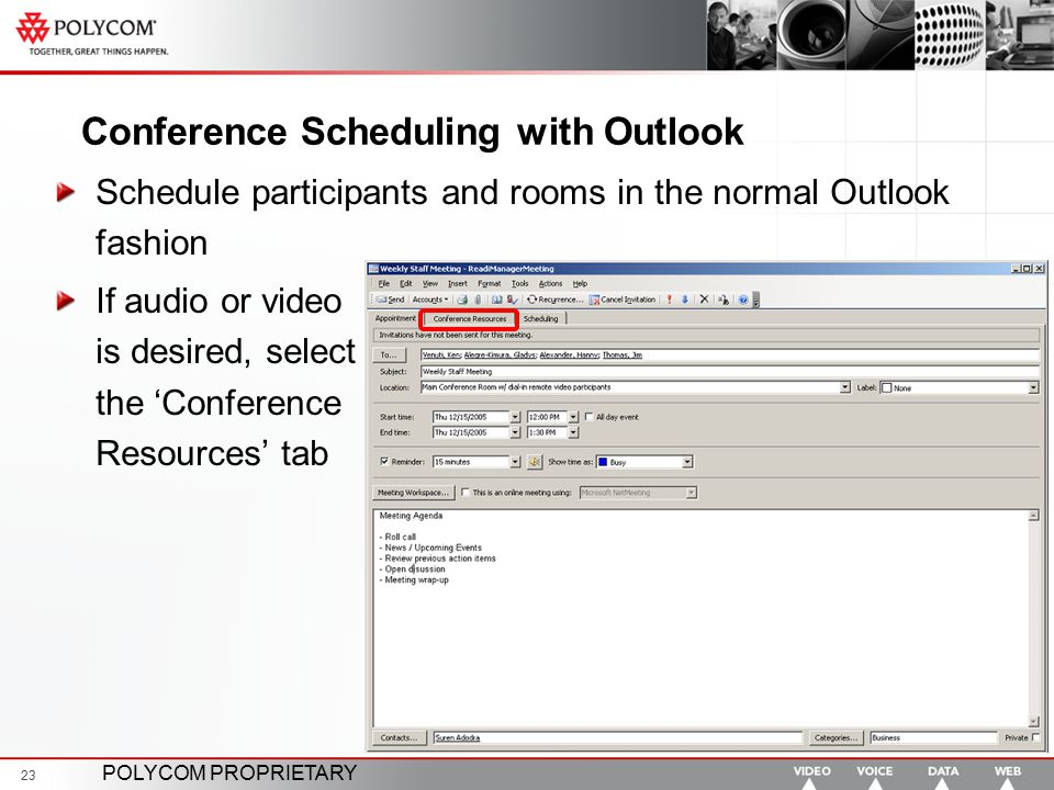 Conference Scheduling with Outlook