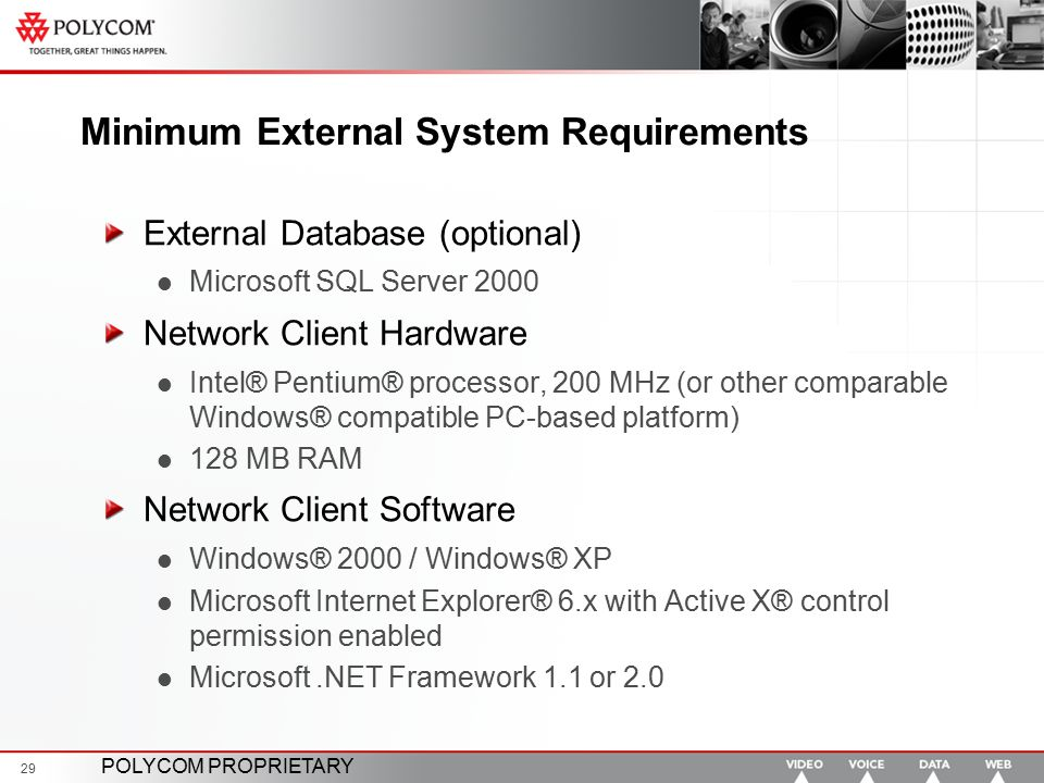 Minimum External System Requirements