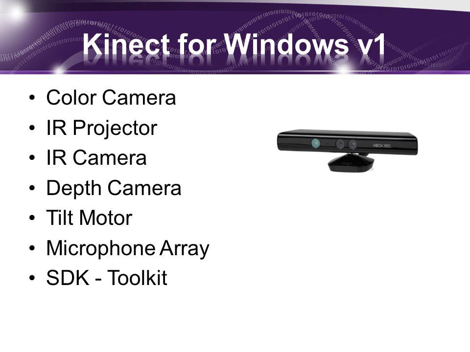 Kinect for Windows v1 Color Camera IR Projector IR Camera Depth Camera