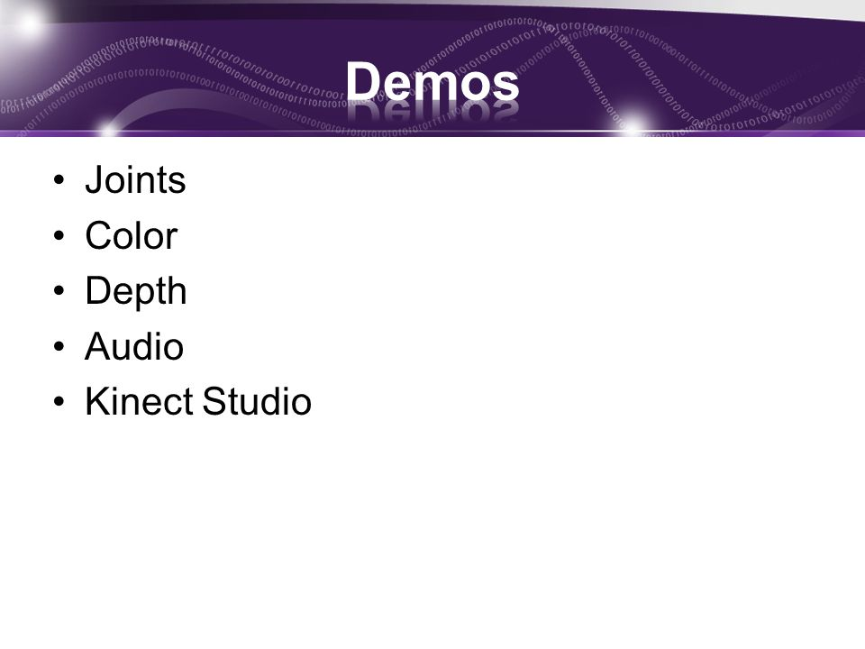 Demos Joints Color Depth Audio Kinect Studio