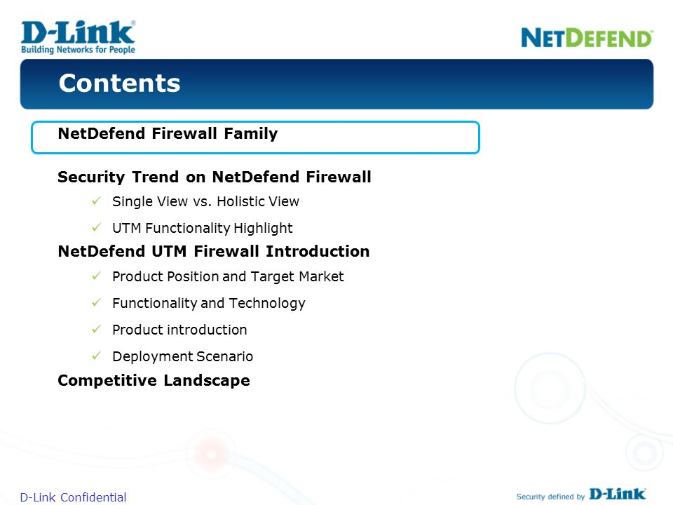 Contents NetDefend Firewall Family
