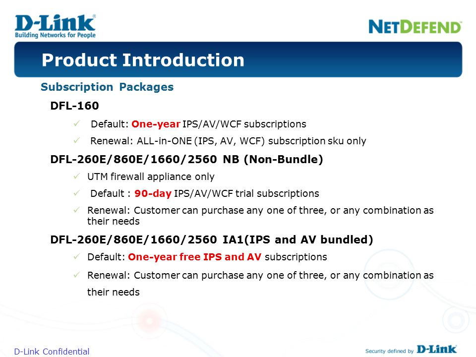 Product Introduction Subscription Packages DFL-160