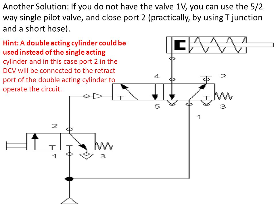 Another Solution: If you do not have the valve 1V, you can use the 5/2 way single pilot valve, and close port 2 (practically, by using T junction and a short hose).