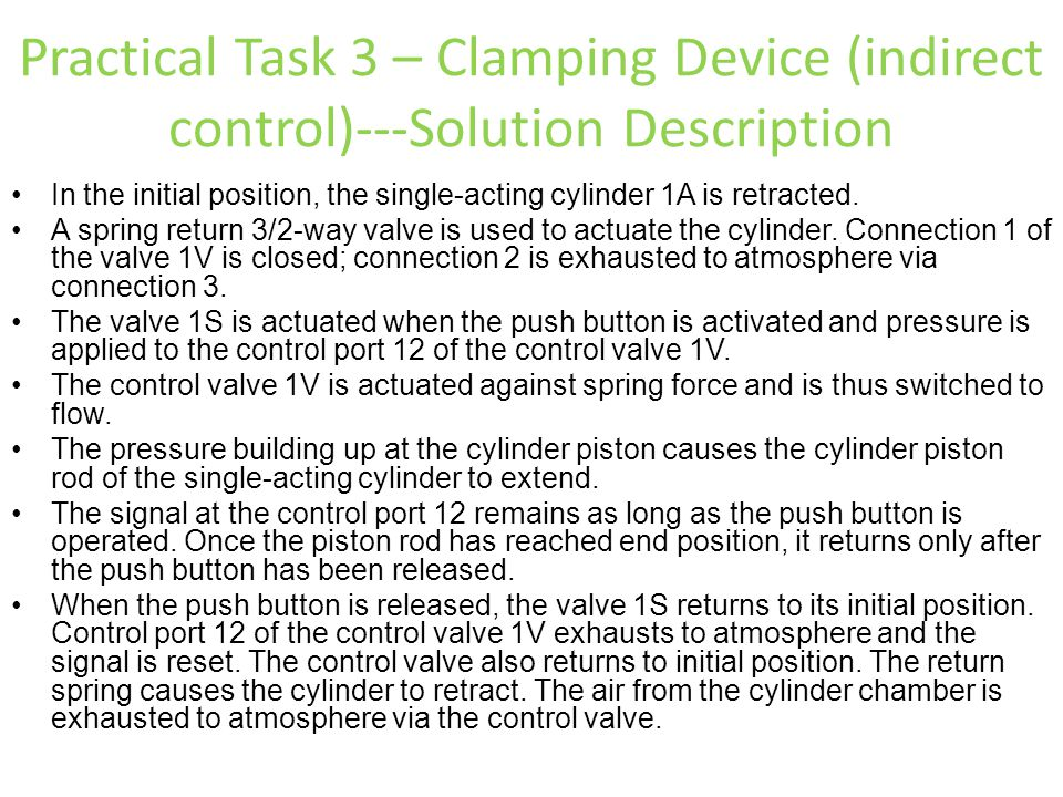 Practical Task 3 – Clamping Device (indirect control)---Solution Description