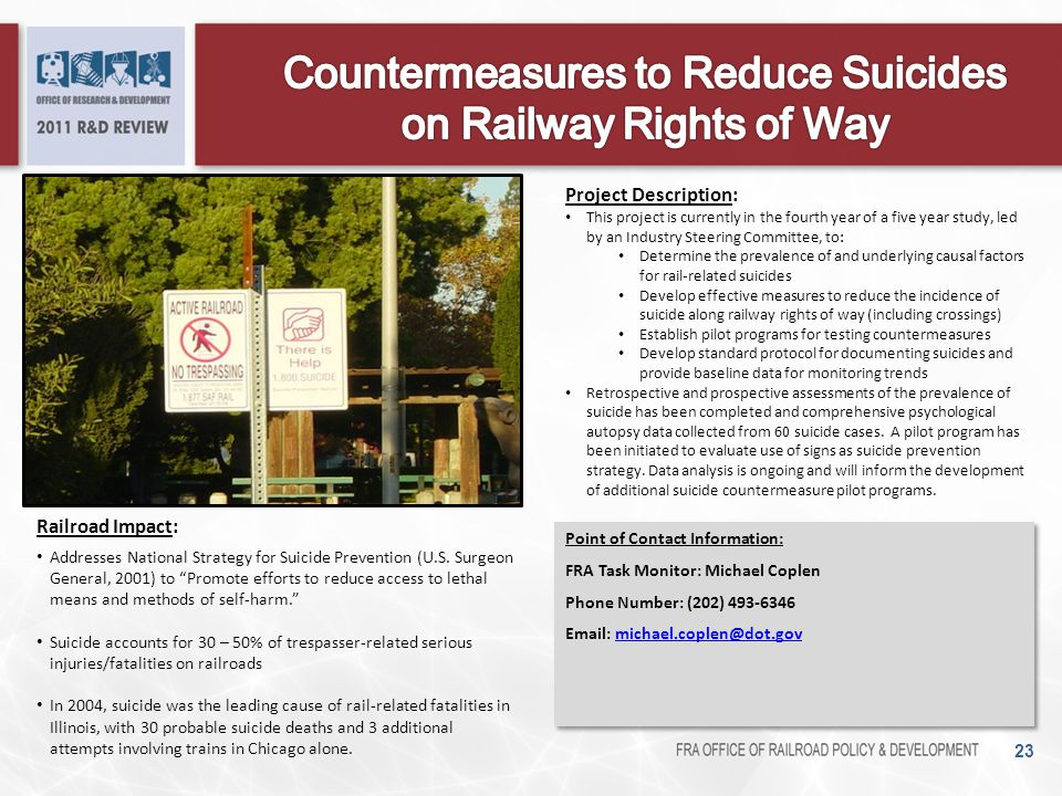 Countermeasures to Reduce Suicides on Railway Rights of Way