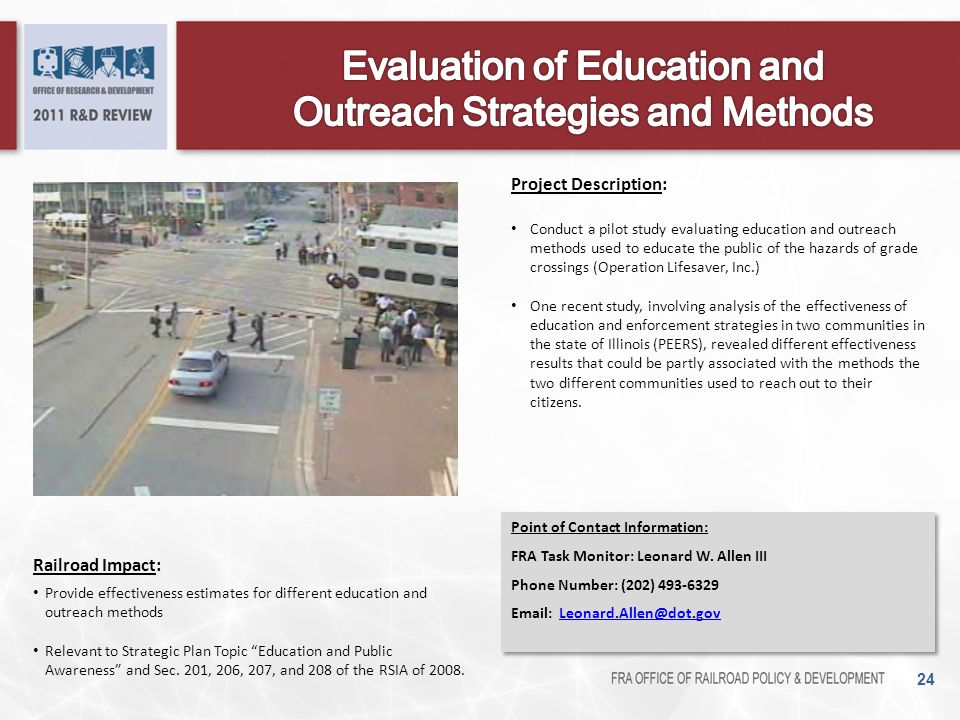 Evaluation of Education and Outreach Strategies and Methods