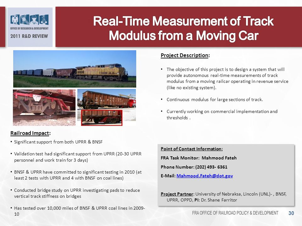 Real-Time Measurement of Track Modulus from a Moving Car