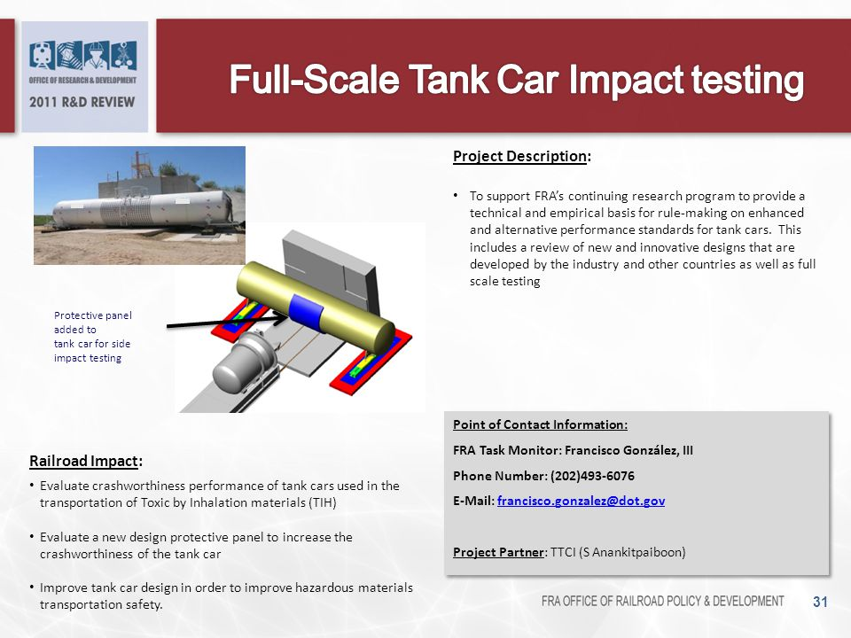Full-Scale Tank Car Impact testing