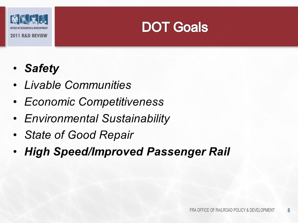DOT Goals Safety Livable Communities Economic Competitiveness