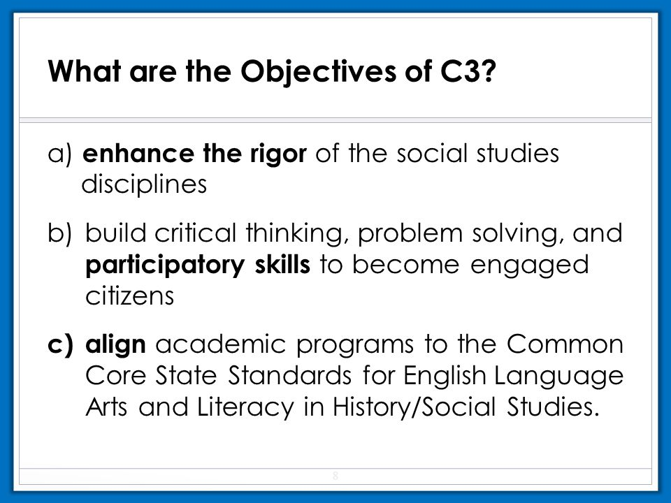What are the Objectives of C3